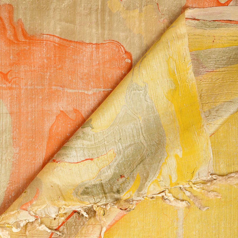 Marble print Banana Silk Yellow Orange Stole/Dupatta