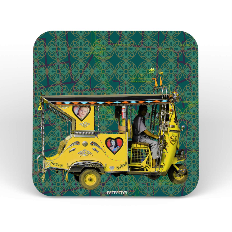 Yellow Auto Rickshaw Table Coaster Set of Six