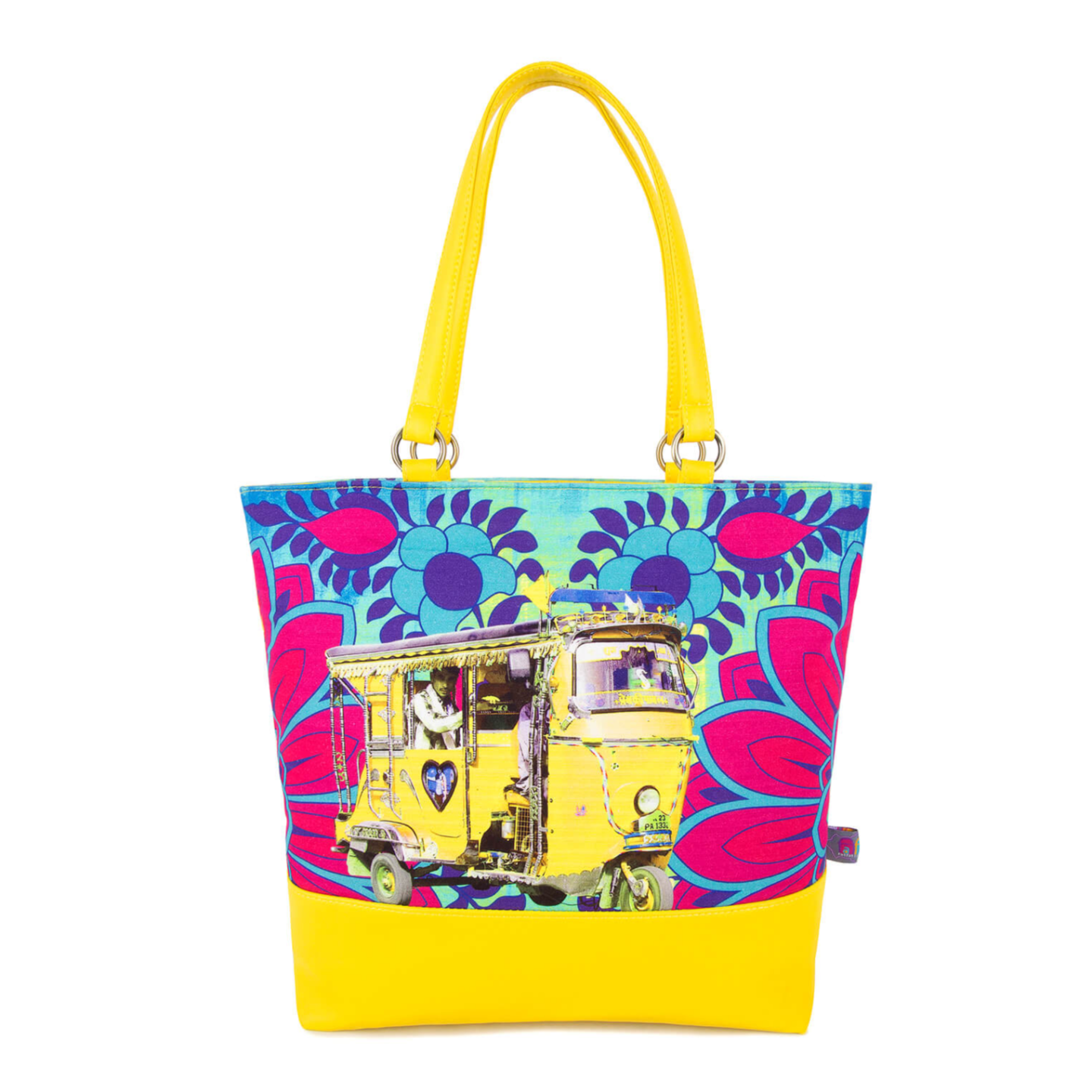 Designer Yellow Auto Rickshaw Women Tote Bag