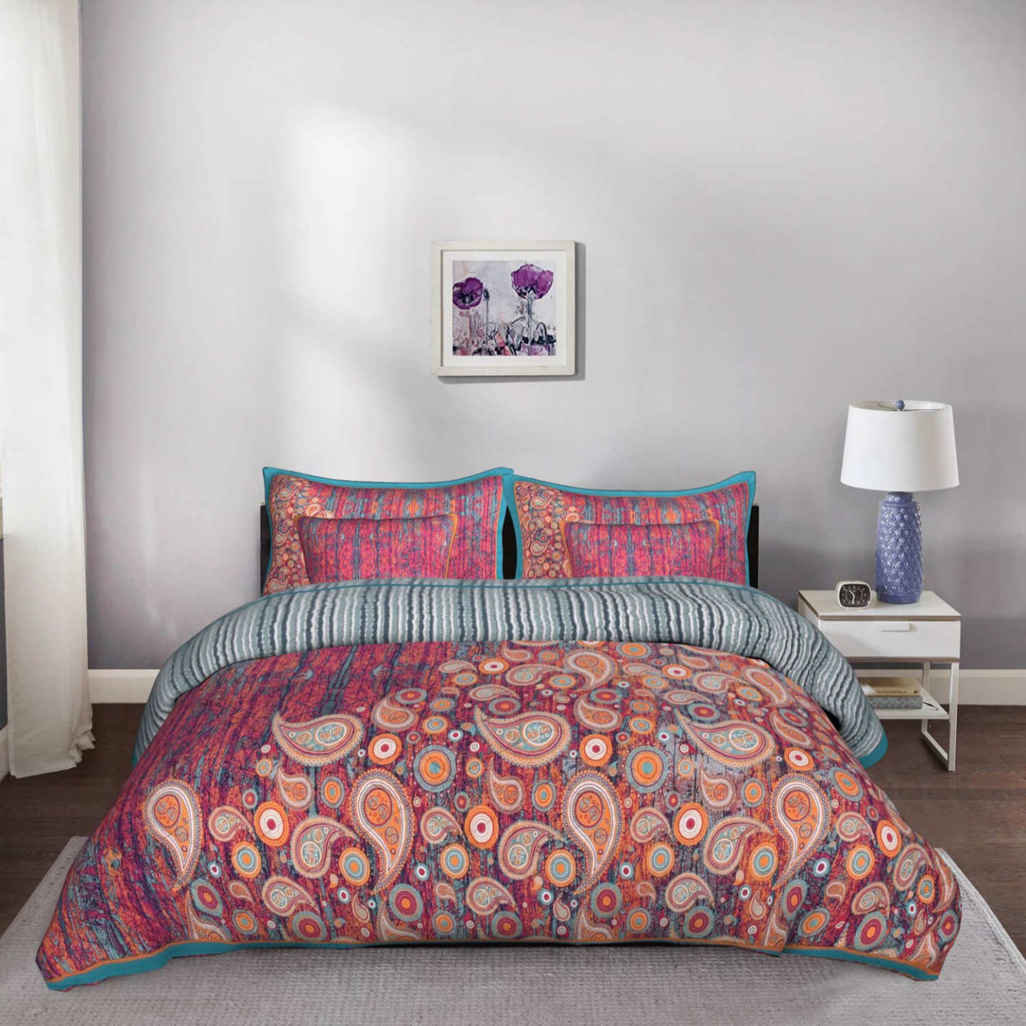 Colour Crush King Size Cotton Quilted Bedspread