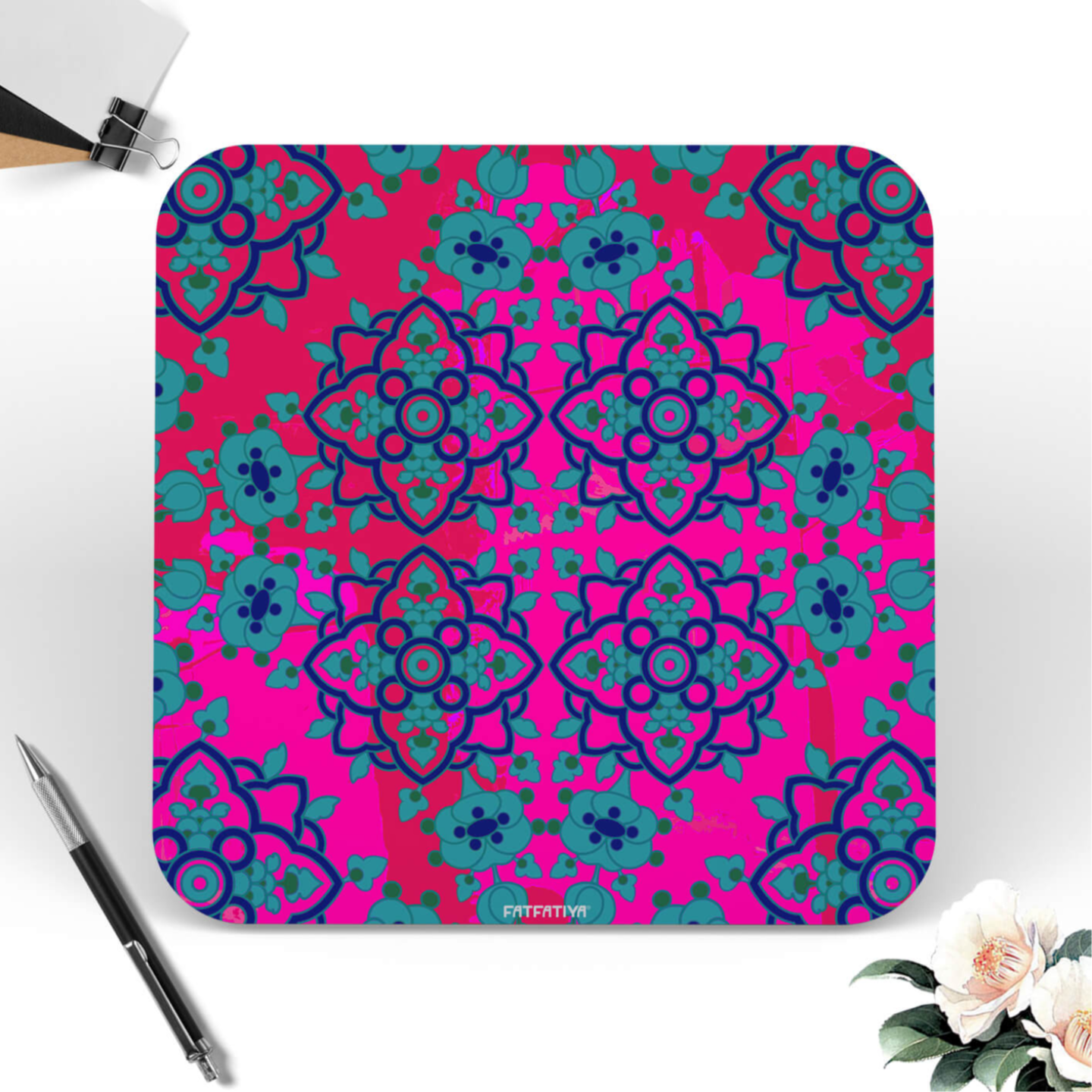 Charming Flower Motif Digital Printed MDF Coaster Set of 6 Pcs