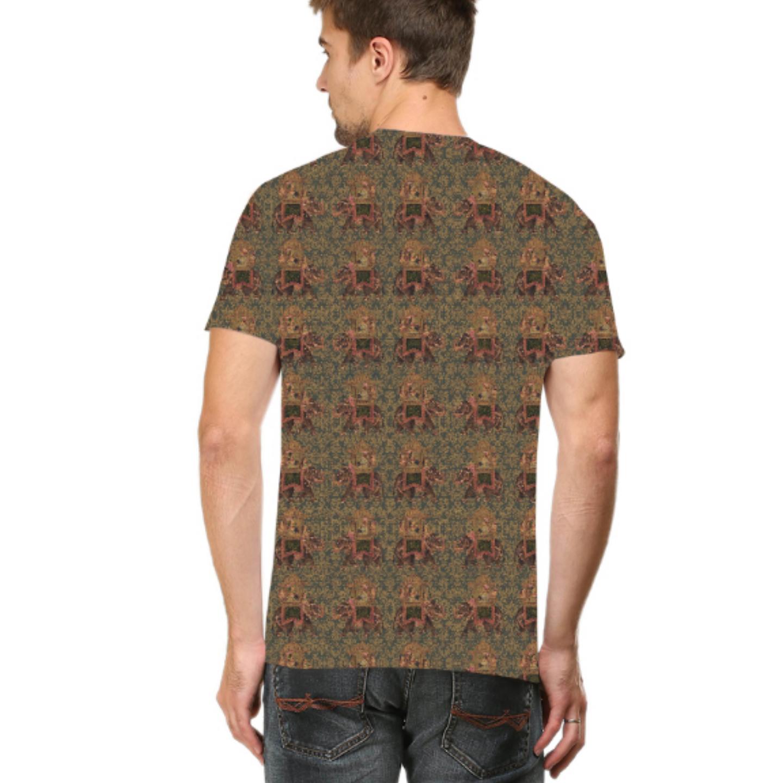 Men Brown Round Neck Multicoloured Round Neck T-Shirt