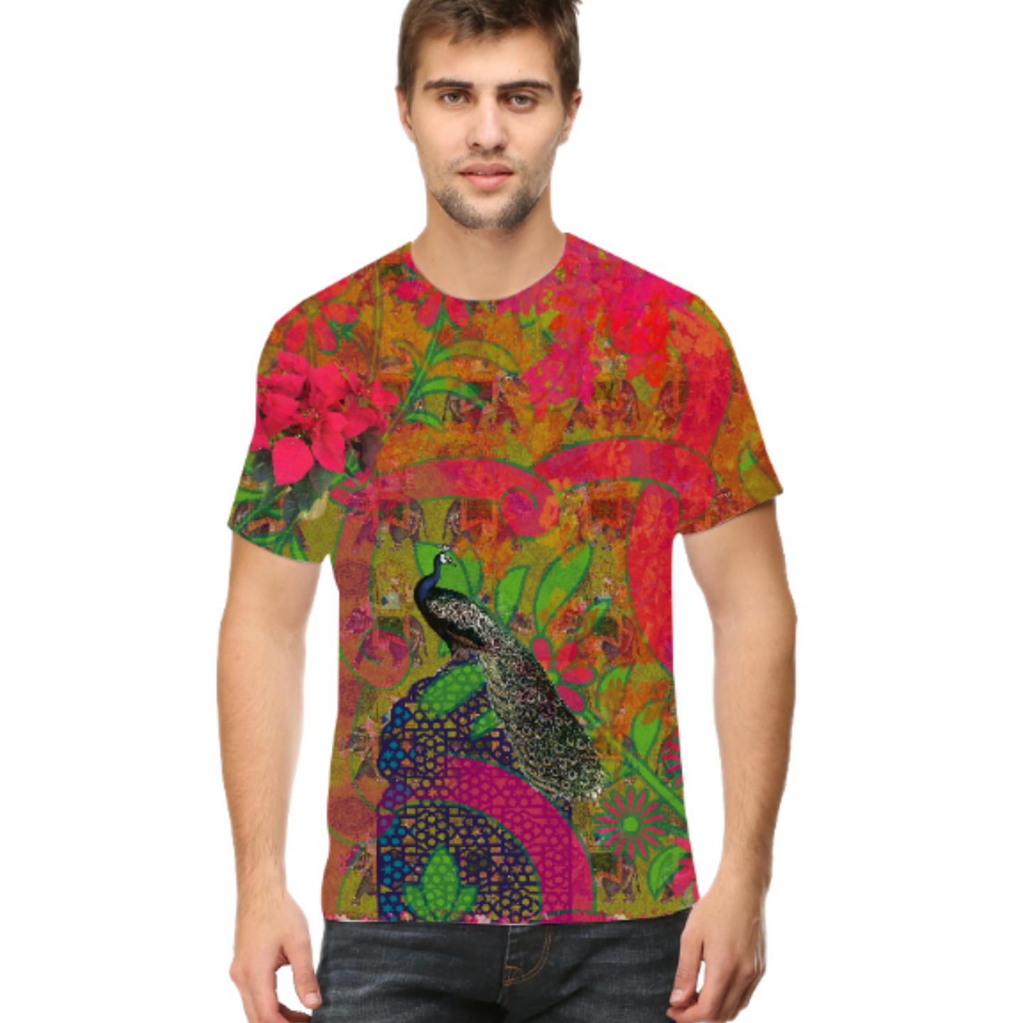Men Multicoloured Cultural Trip Round Neck T-Shirt