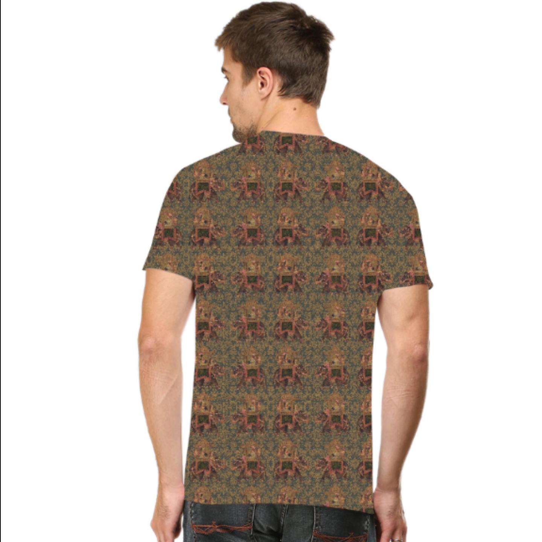 Men Brown Multicoloured  T-Shirt Mask Combo