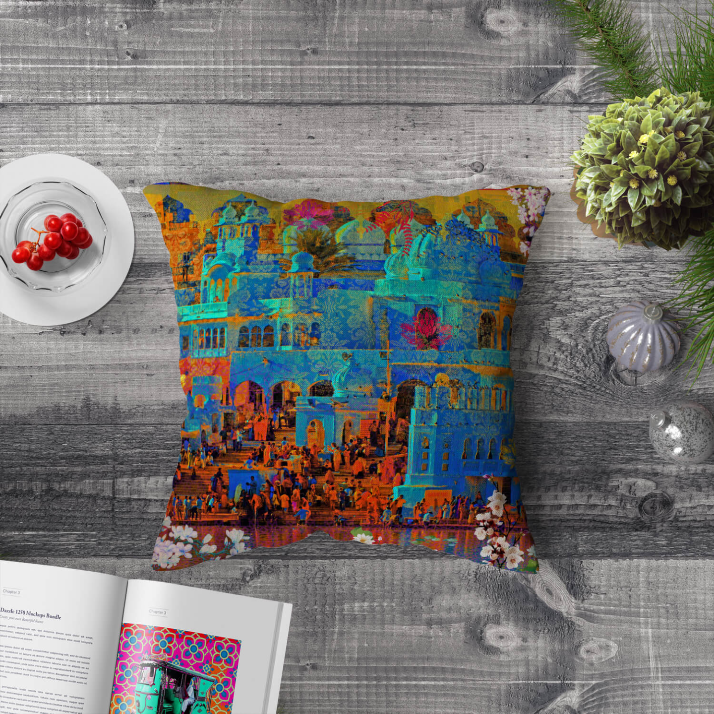 Indian Heritage Poly Canvas Cushion Cover