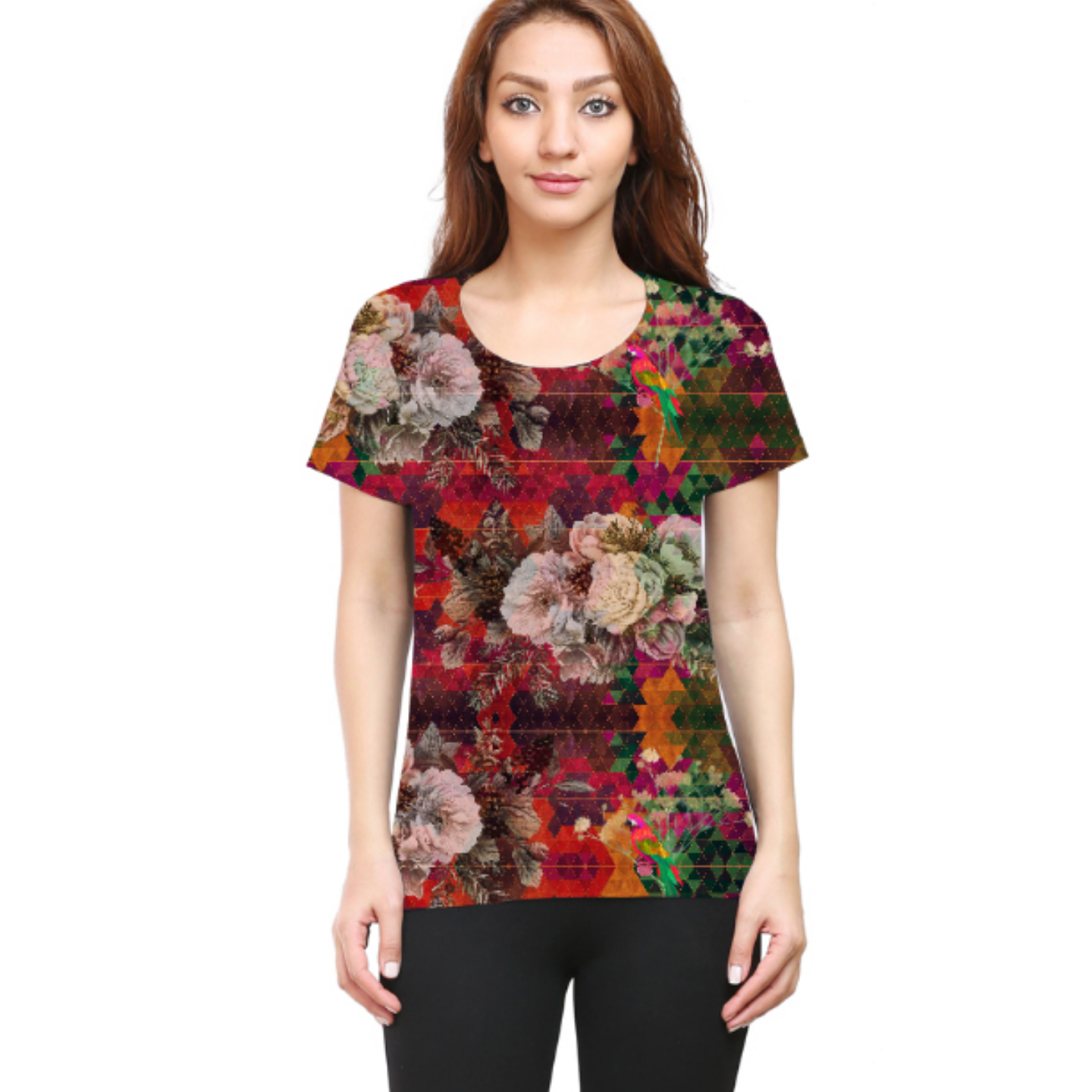 Women Multicoloured Floral Round Neck T-Shirt