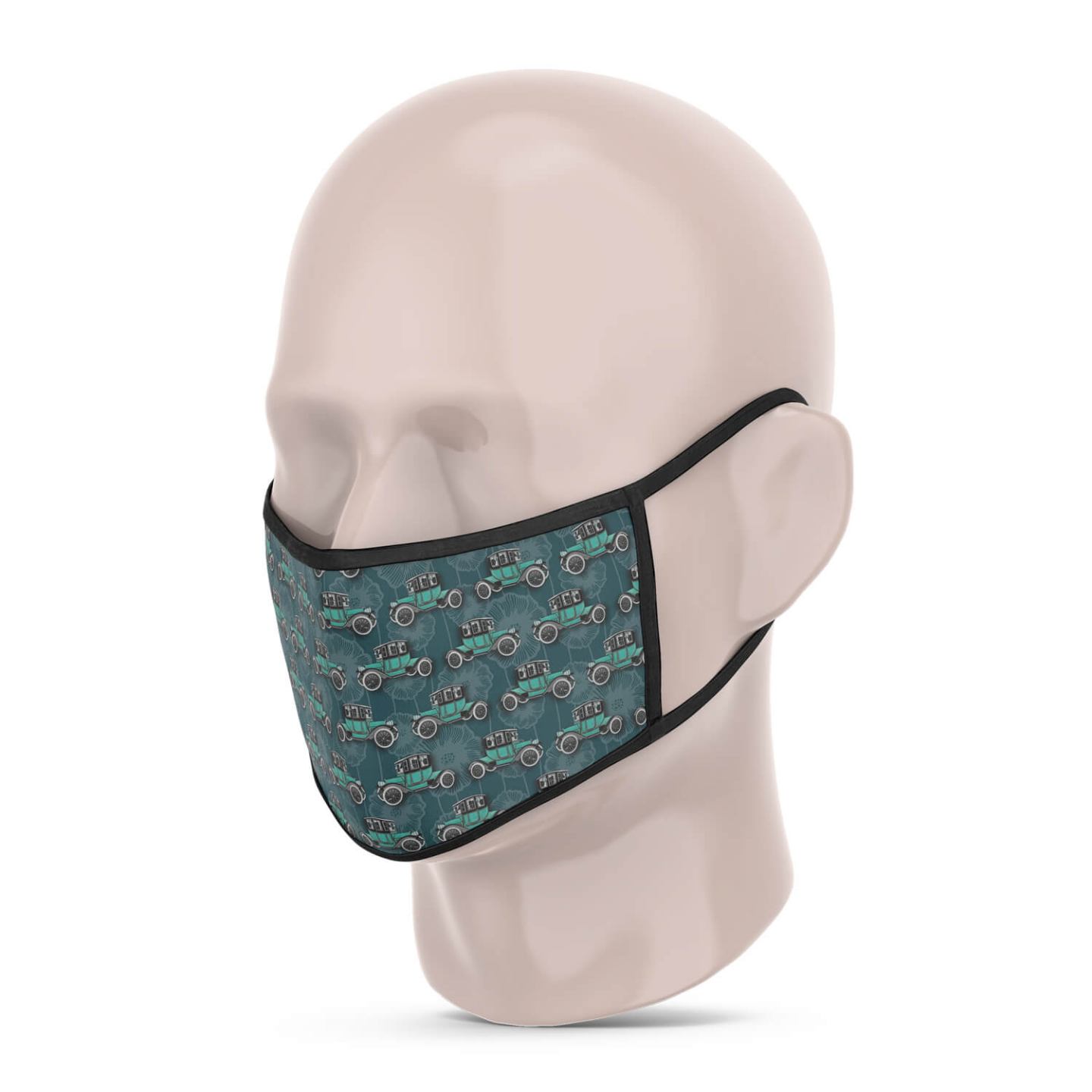 3 Layer Printed Protective Face Mask - Pack of 3 Green-Vintage Car-Grey Brown