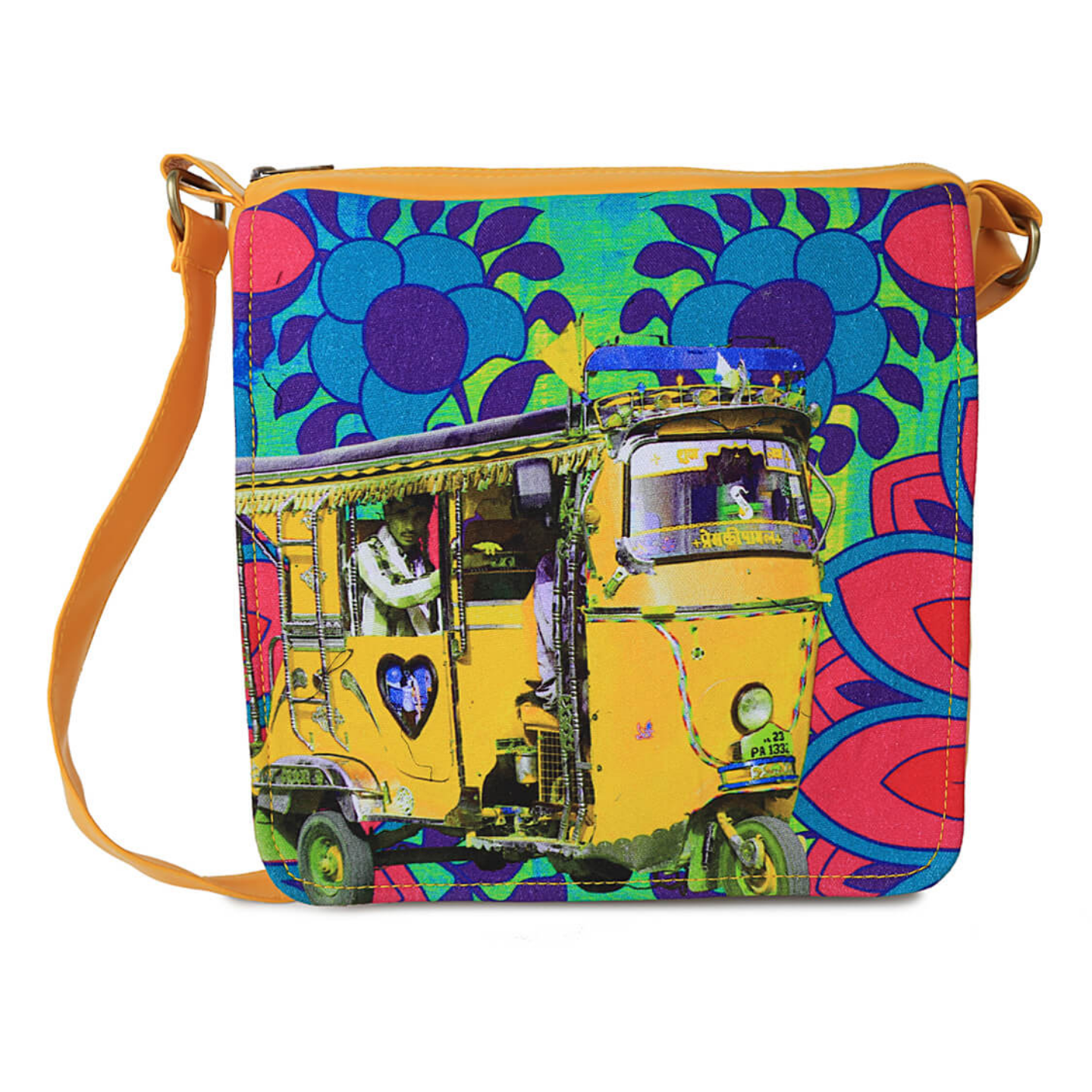 Neon Yellow Taxi Canvas  PU SlingCrossbody Bag