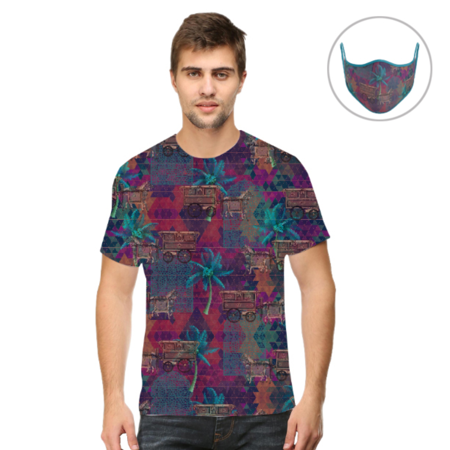 Men Multicoloured Stylish T-Shirt Mask Combo