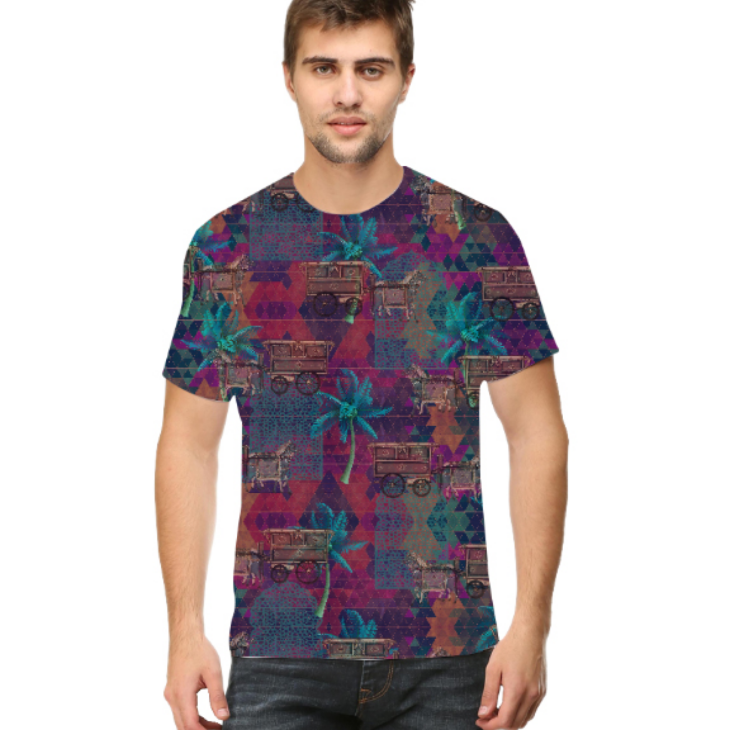 Men Multicoloured Stylish Round Neck T-Shirt