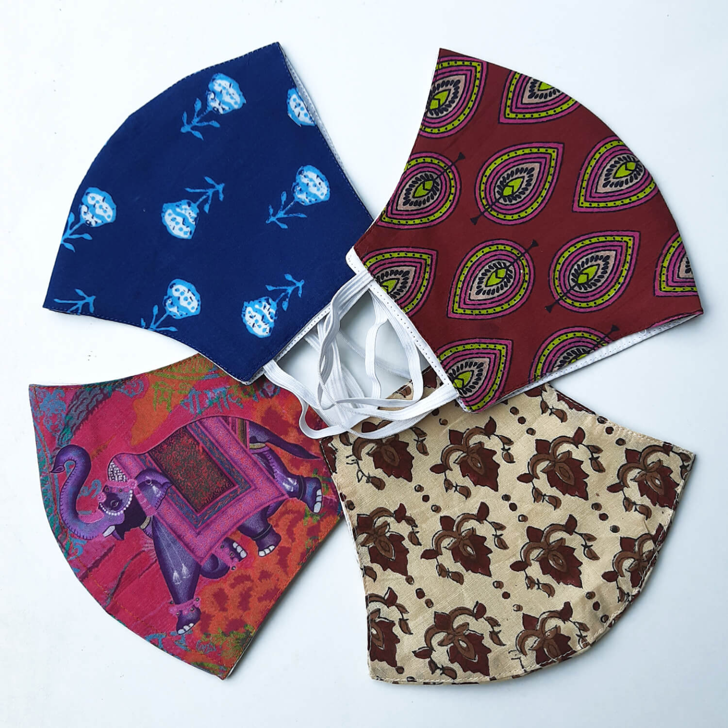 Set of 4 Cotton Reusable Face Maks