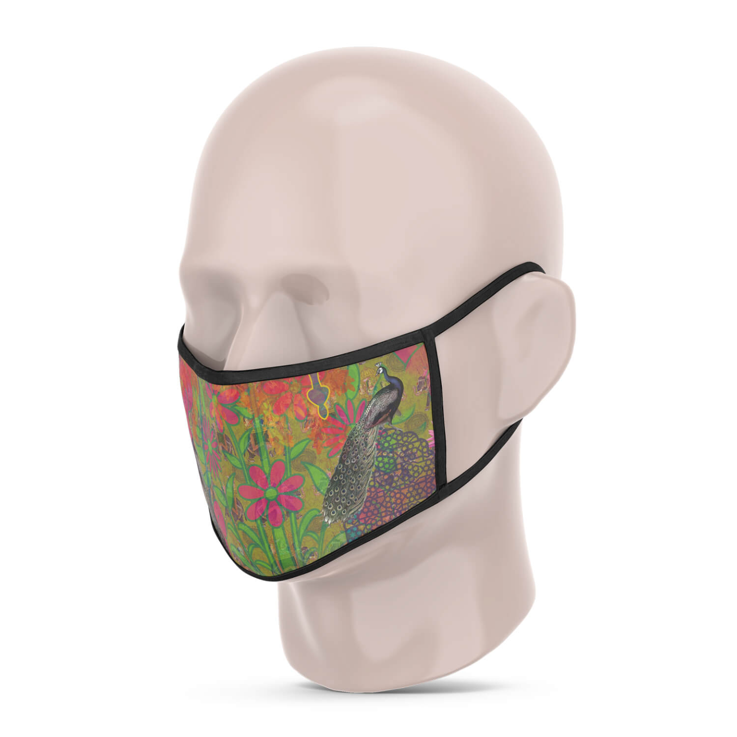 Peacock in Castle Reusable Printed Face Mask