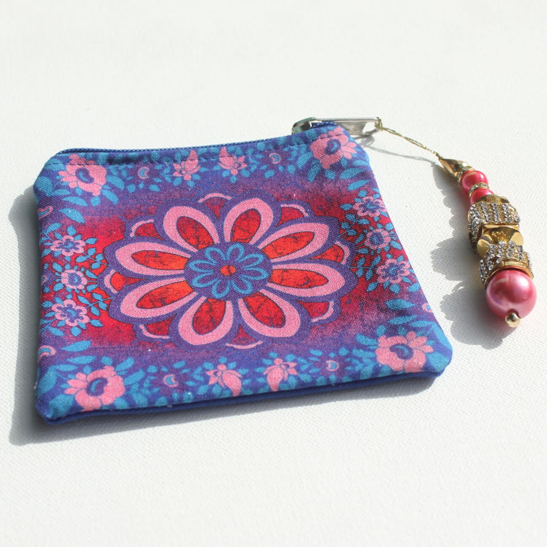 Sparkling Flower Motif Canvas Coin Pouch/Purse