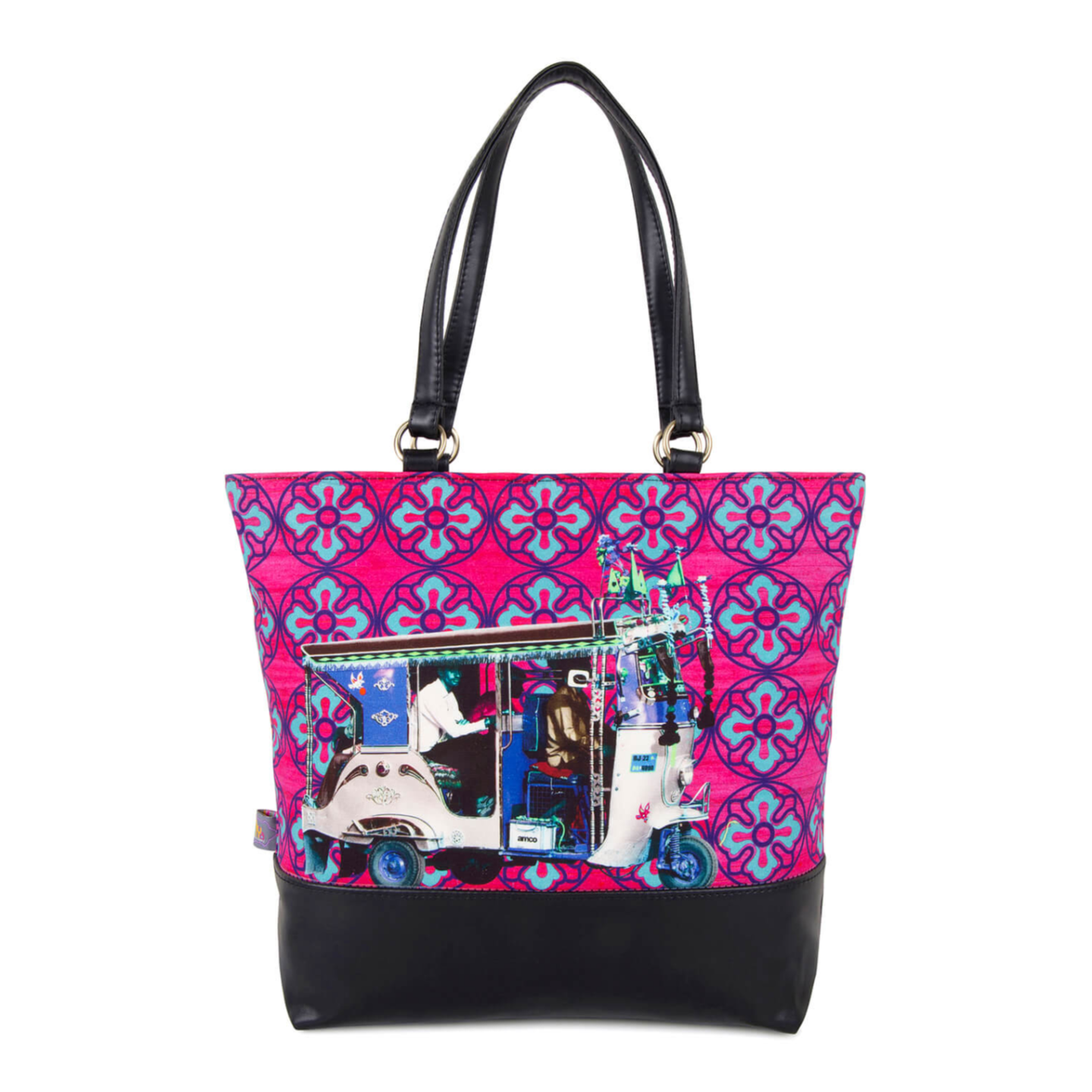 Blue Silver Taxi Women Tote Bag