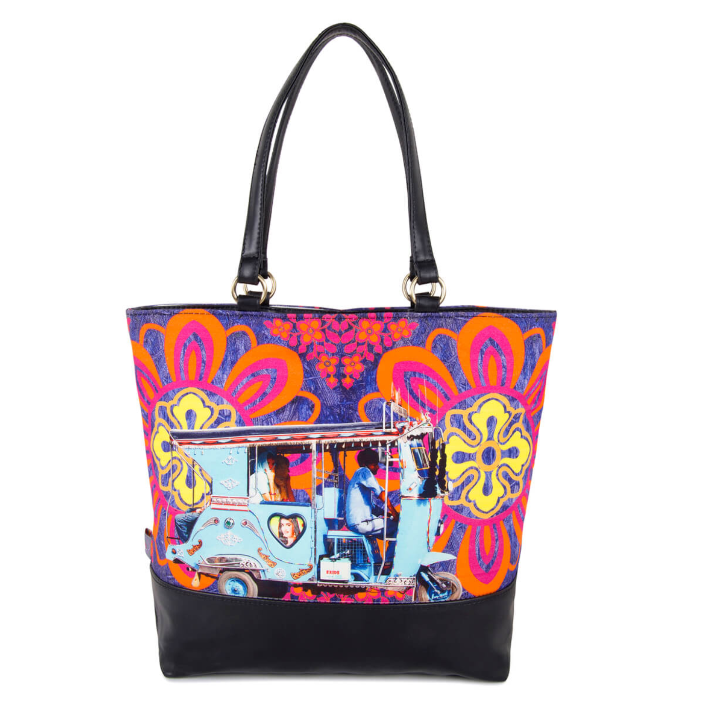 Sky Blue Auto Canvas and Faux Leather Women Tote Bag