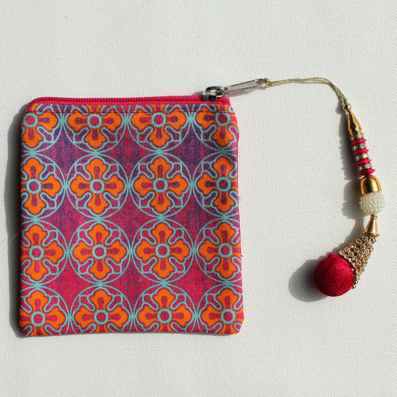 Delightful Flower Motif Canvas Coin Pouch/Purse
