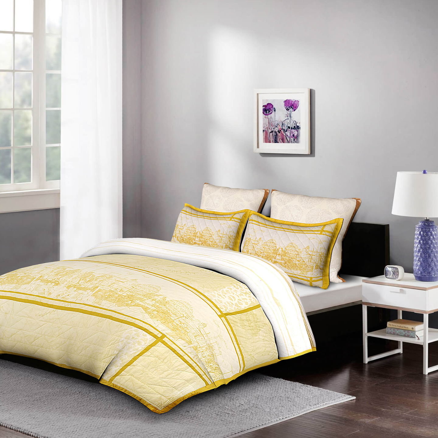 5 Piece Magnificent Hawamahal King Size Cotton Quilted Bedspread