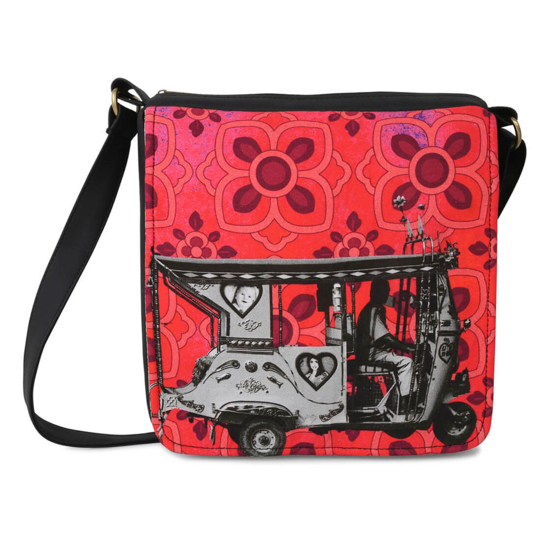 Silver Auto Rickshaw Canvas PU SlingCrossbody Bag