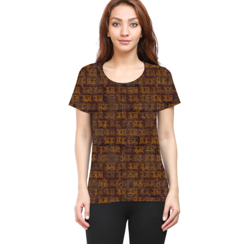 Women Brown Ancient Flower Round Neck T-Shirt