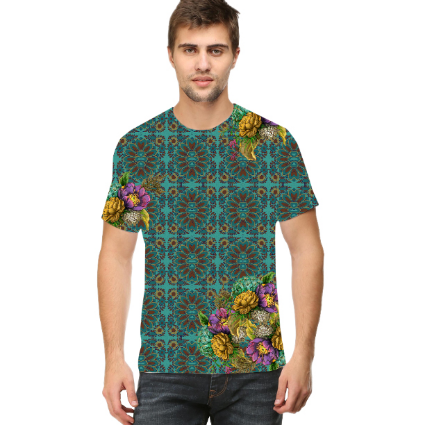 Men Geometric Design Flowery Round Neck T-Shirt