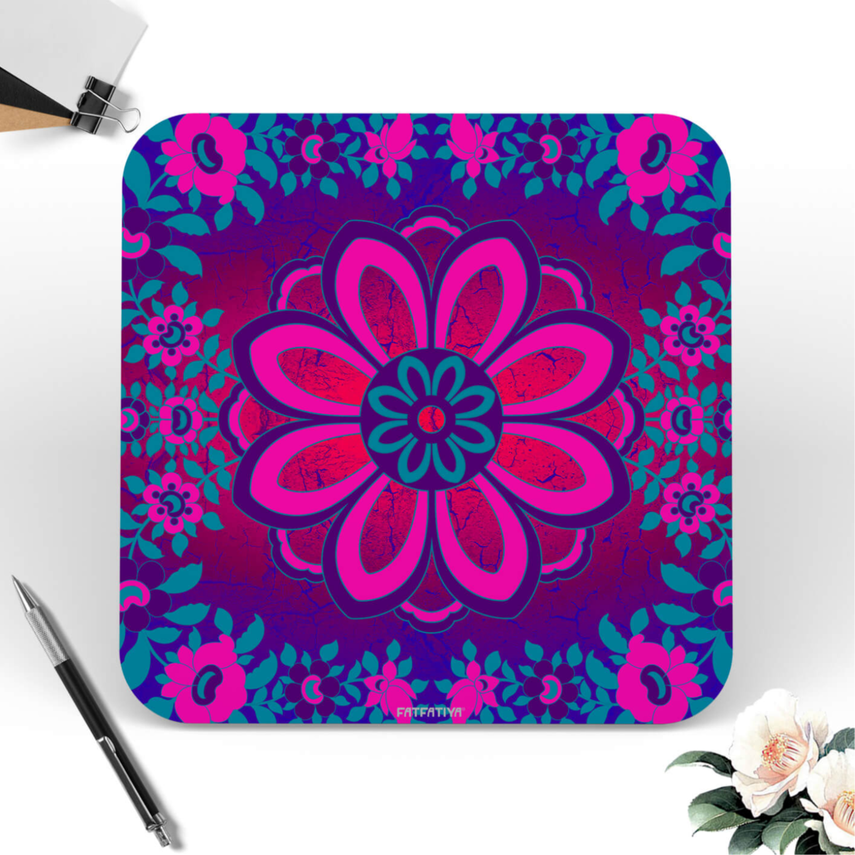 Sparkling Flower Motif Printed MDF Wood Coaster Set of 6 Pcs
