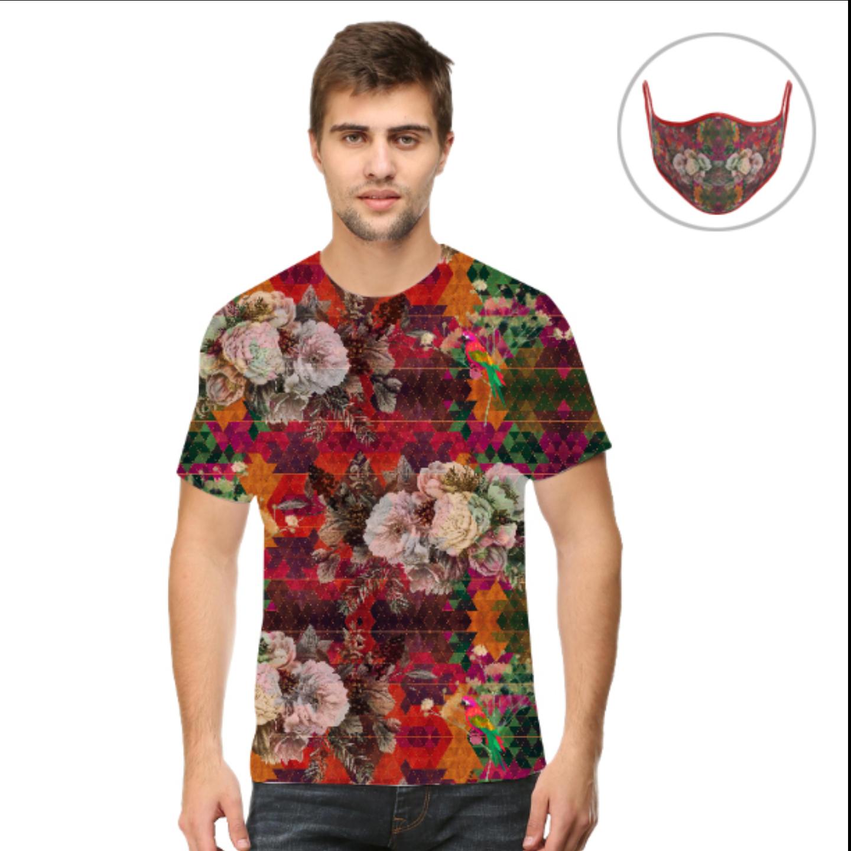 Men Multicoloured Floral T-Shirt Mask Combo