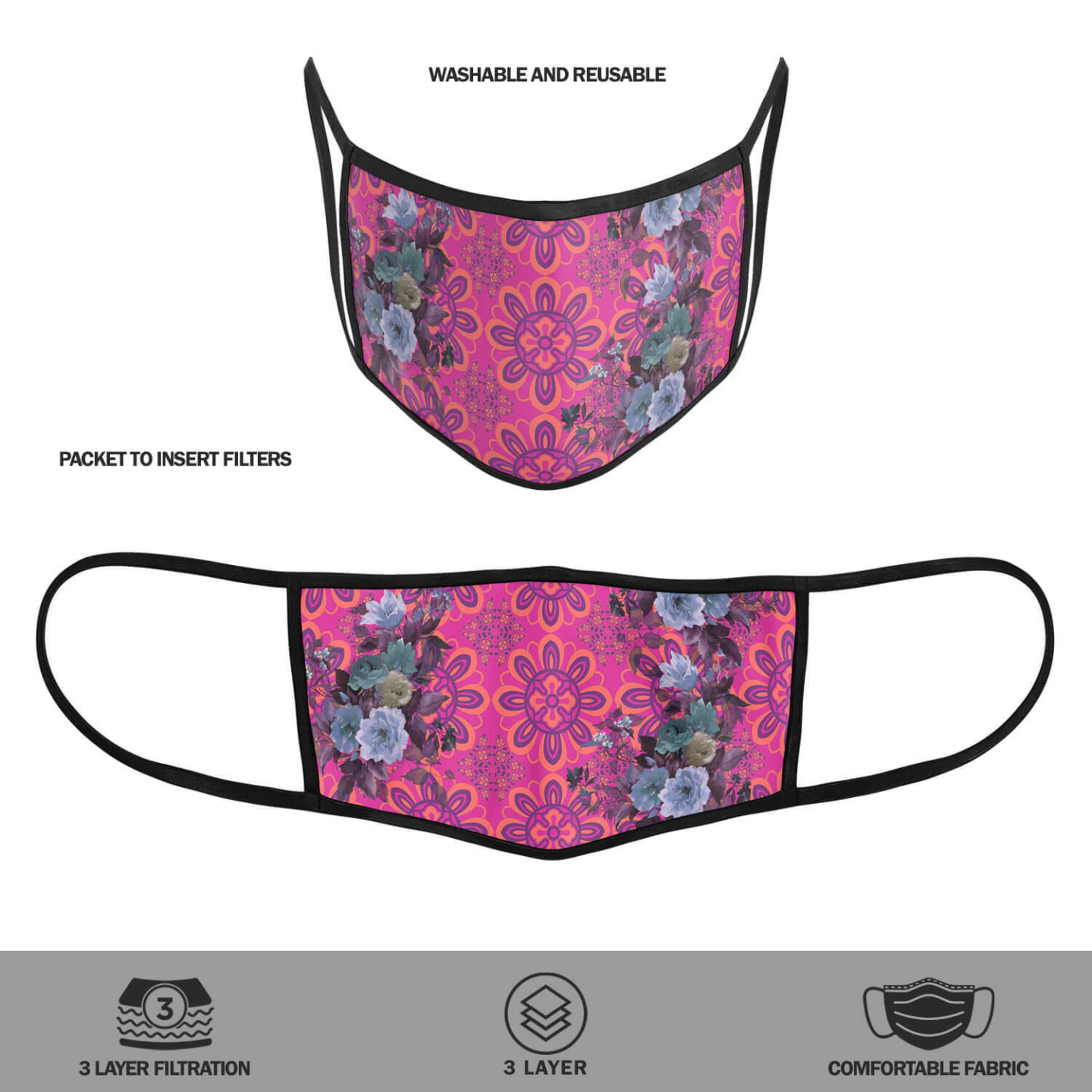 Pink and Blue Floral Reusable Printed Face Mask