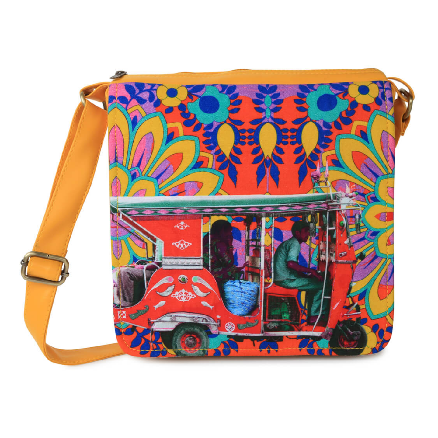 Crimson Taxi Canvas PU SlingCrossbody Bag