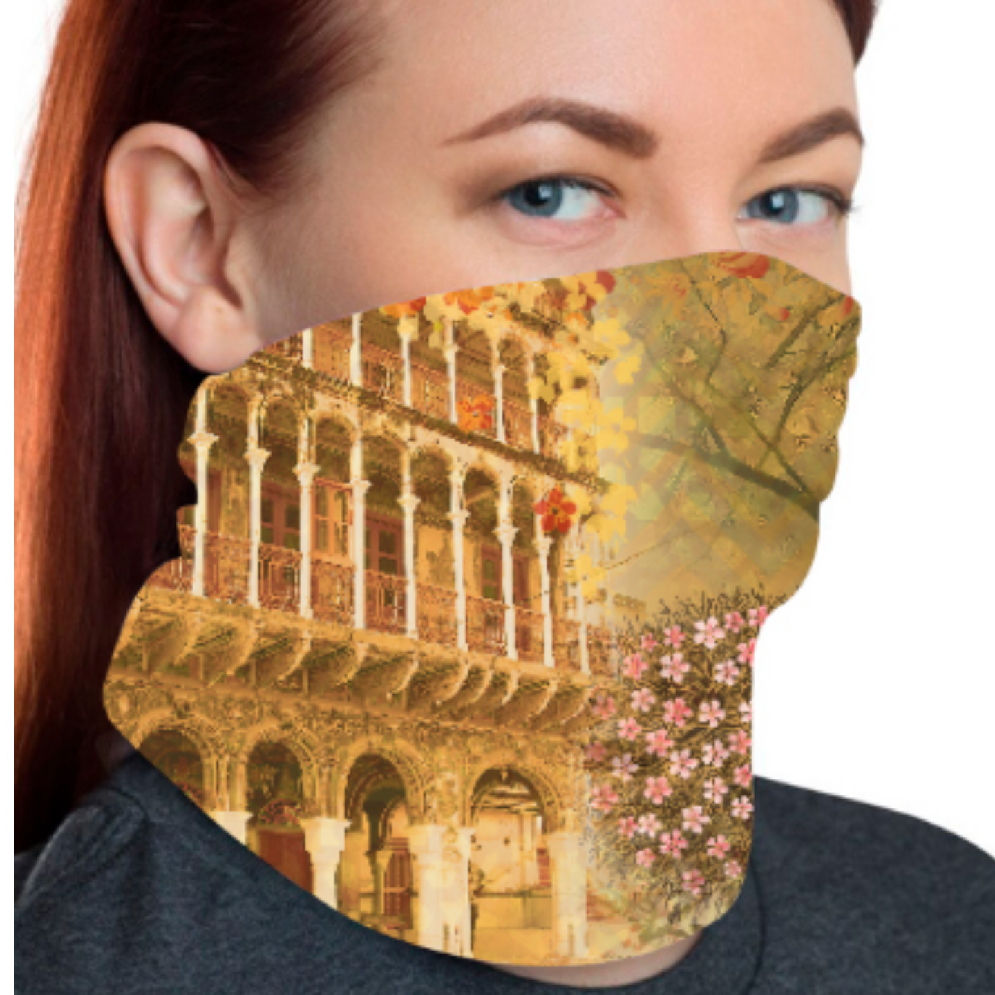 Historical Fort and Floral Unisex Bandana Mask