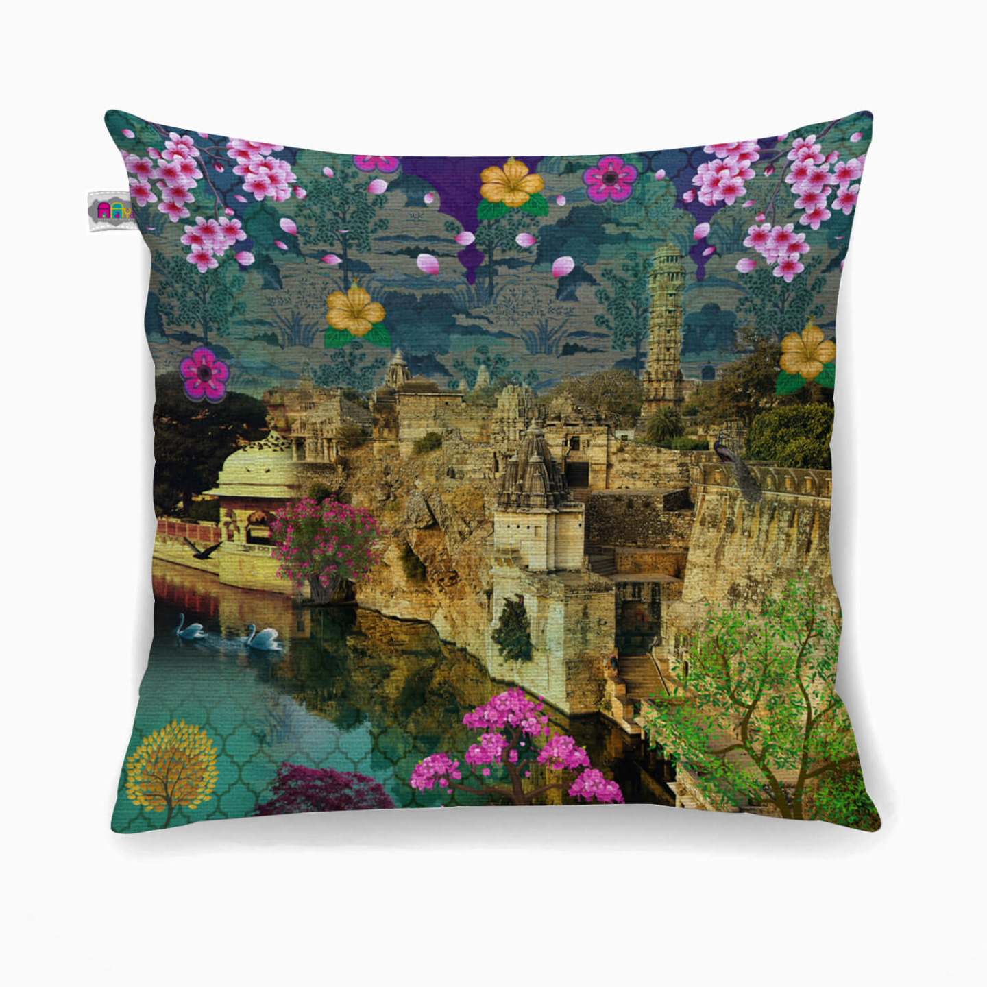 Rajasthani Heritage Fort Poly Canvas Cushion Cover