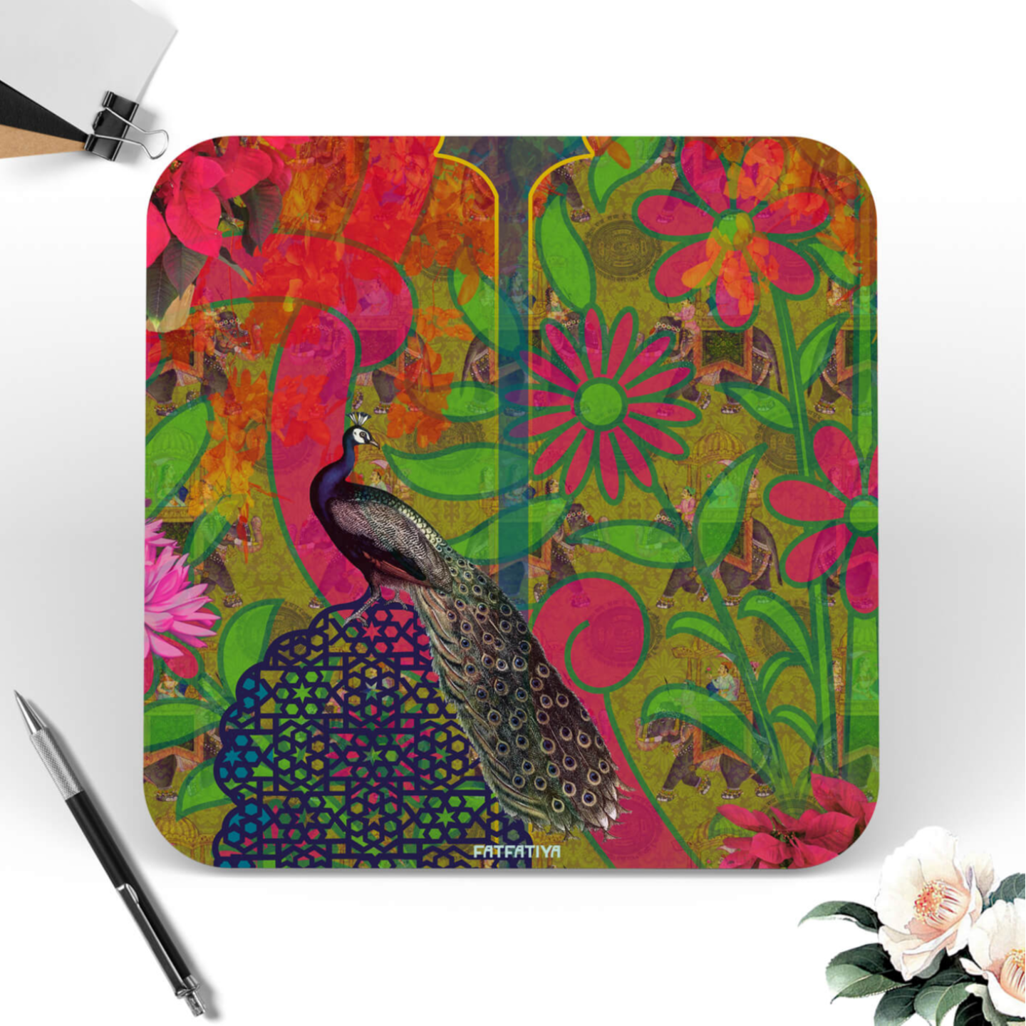 Multicoloured Peacock Themed Table Coaster Set of Six