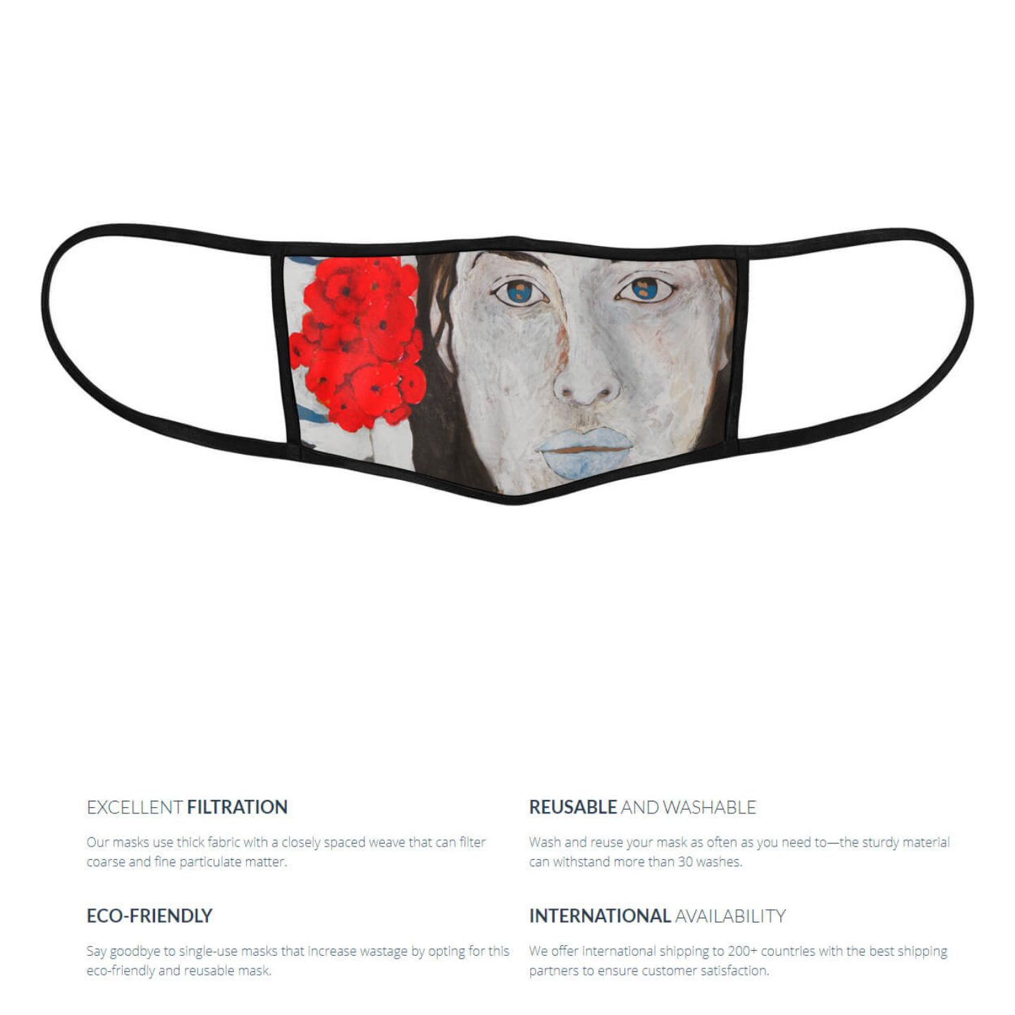 Red Flowers Reusable Face Mask - Priyanka Waghela