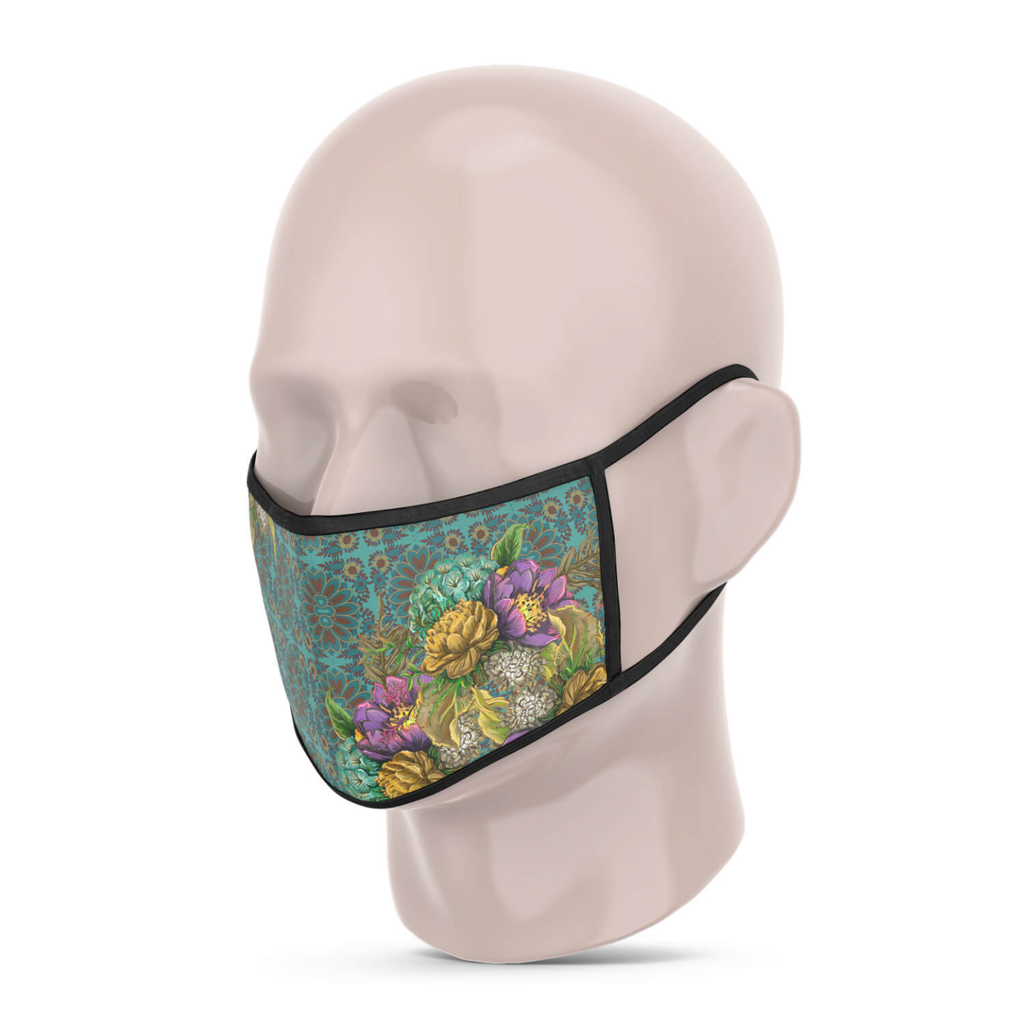 3 Layer Printed Protective Face Mask - Pack of 3 Peacock-Sea Green-Pink
