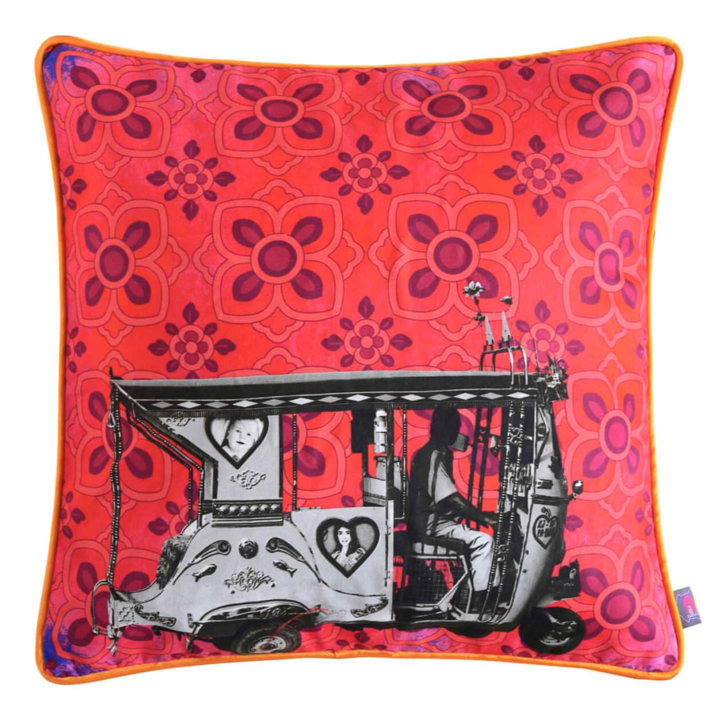 Silver Taxi  Glaze Cotton Cushion Cover 16x16 Inches