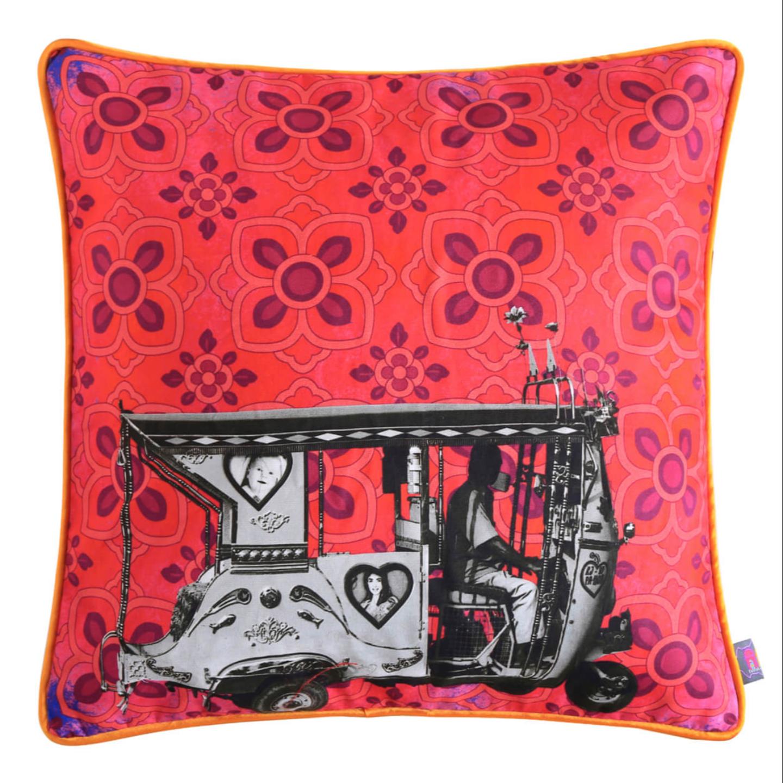 Silver Taxi  Glaze Cotton Cushion Cover 16x16 Inches