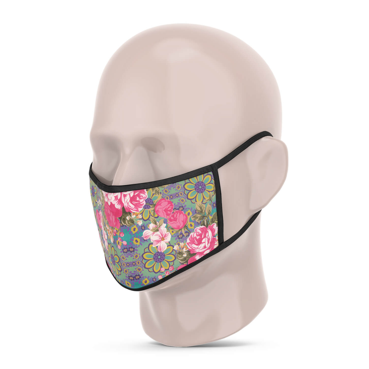 3 Layer Printed Protective Face Mask - Pack of 3 Pink-Sea Green-Yellow Pink
