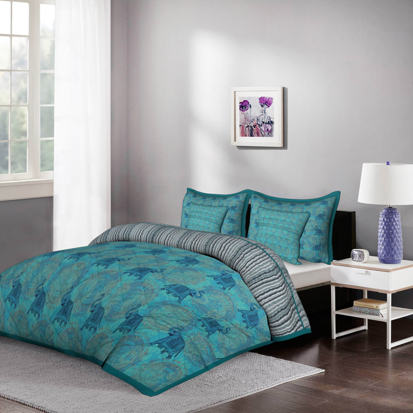 Green Ele 5 Piece Piece King Size Cotton Quilted Bedspread