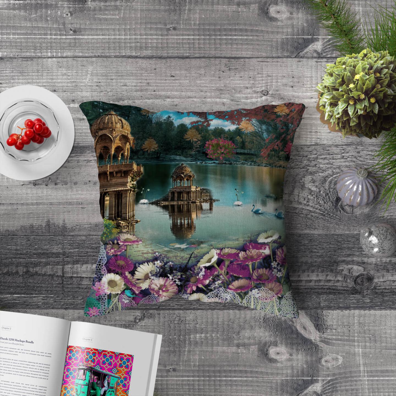 Gadisar Lake Poly Canvas Cushion Cover