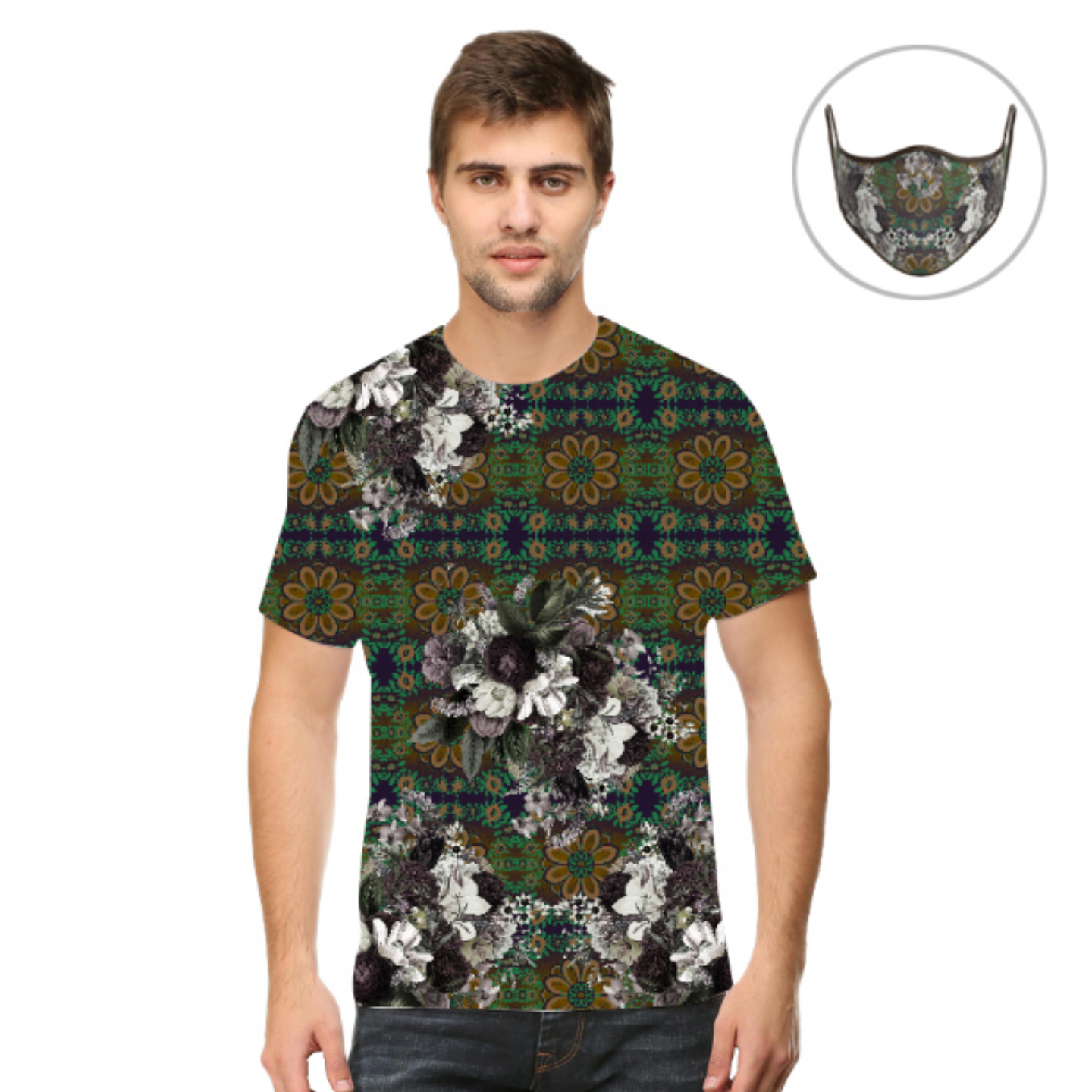 Men Abstract Flower Print T-Shirt Mask Combo