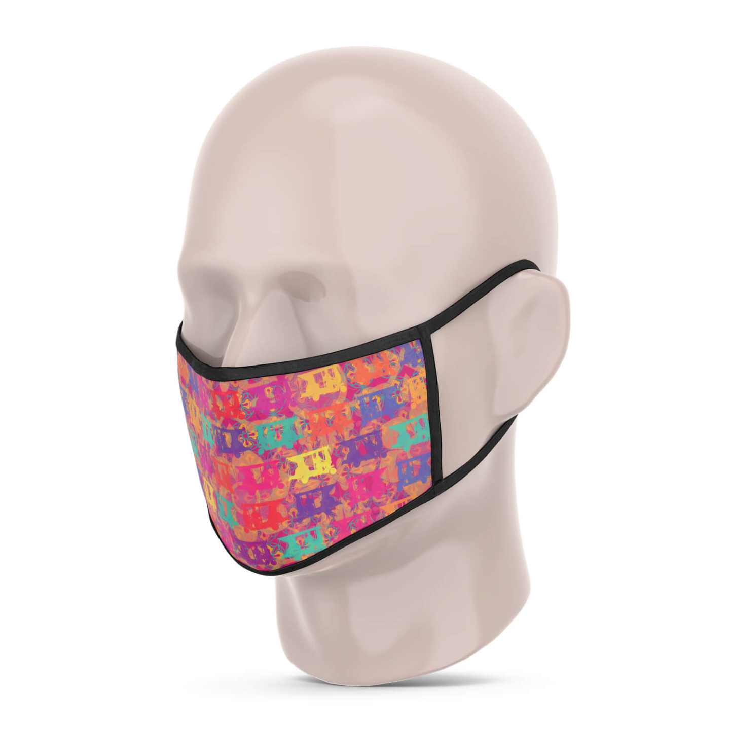3 Layer Printed Protective Face Mask - Pack of 3 Auto-Vintage Car-Elephant
