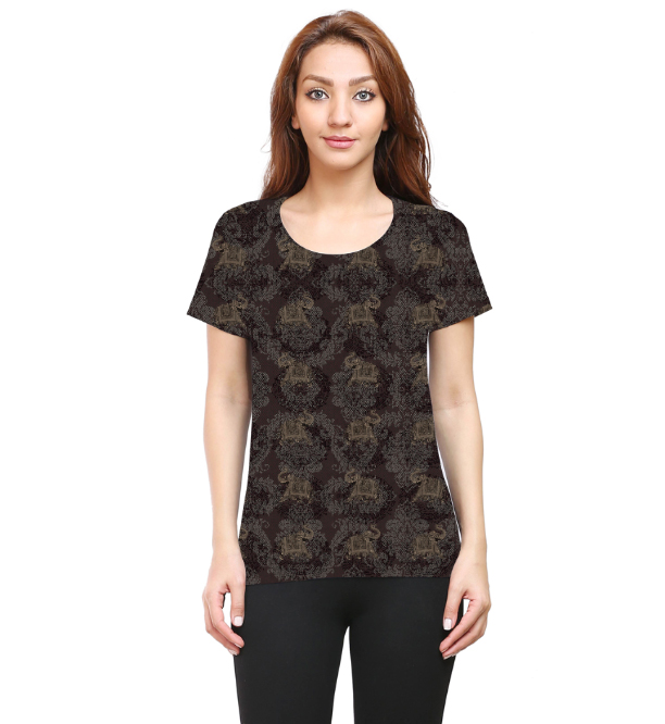 Women Grey Elephant Round Neck T-Shirt