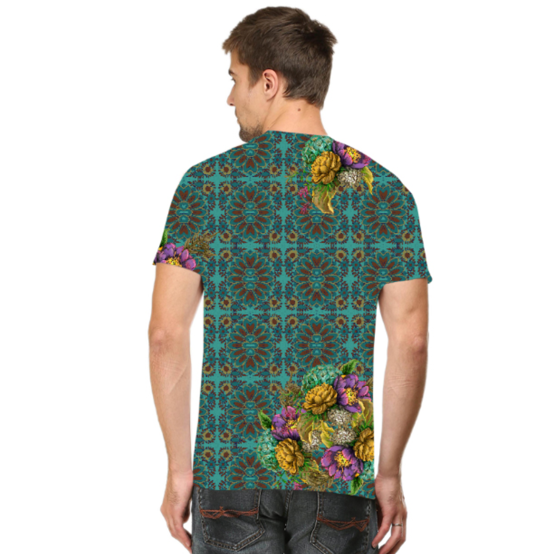 Men Geometric Design Flowery T-Shirt Mask Combo