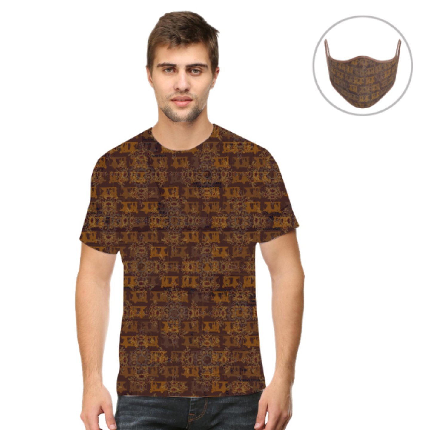 Men Brown Ancient Flower T-Shirt Mask Combo