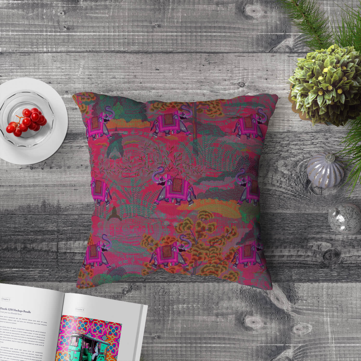 Rajasthani Haathi Poly Canvas Cushion Cover