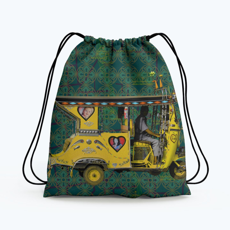 Yellow Auto Rickshaw Drawstring Bag