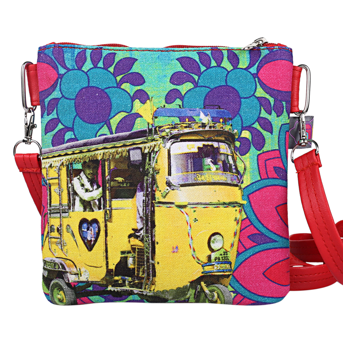 Neon Yellow Auto Rickshaw Canvas PU Small  Sling Bag