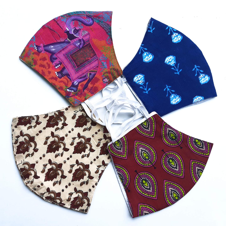 Set of 4 Cotton Reusable Face Maks