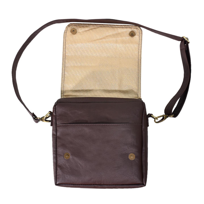 Brown Bike Canvas PU SlingCrossbody Bag