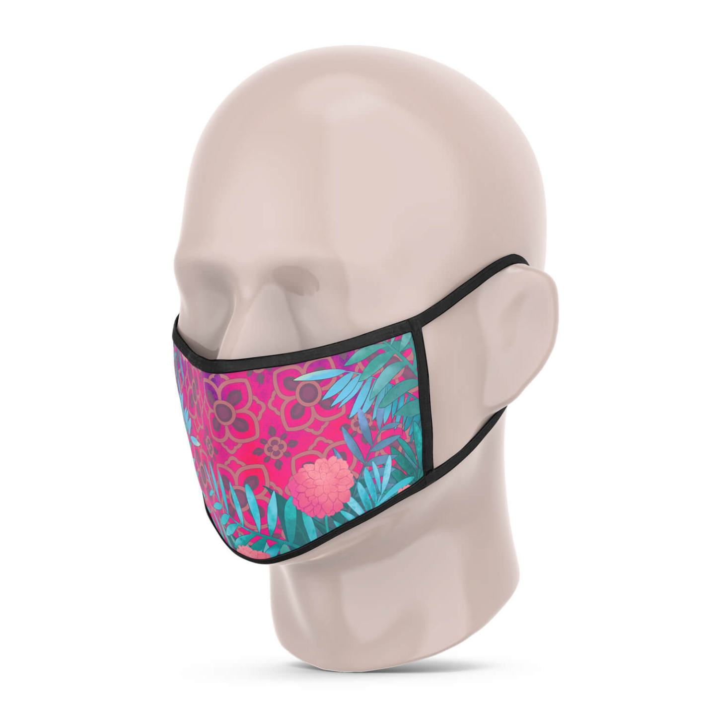 3 Layer Printed Protective Face Mask - Pack of 3 Pink-Grey Brown-Purple