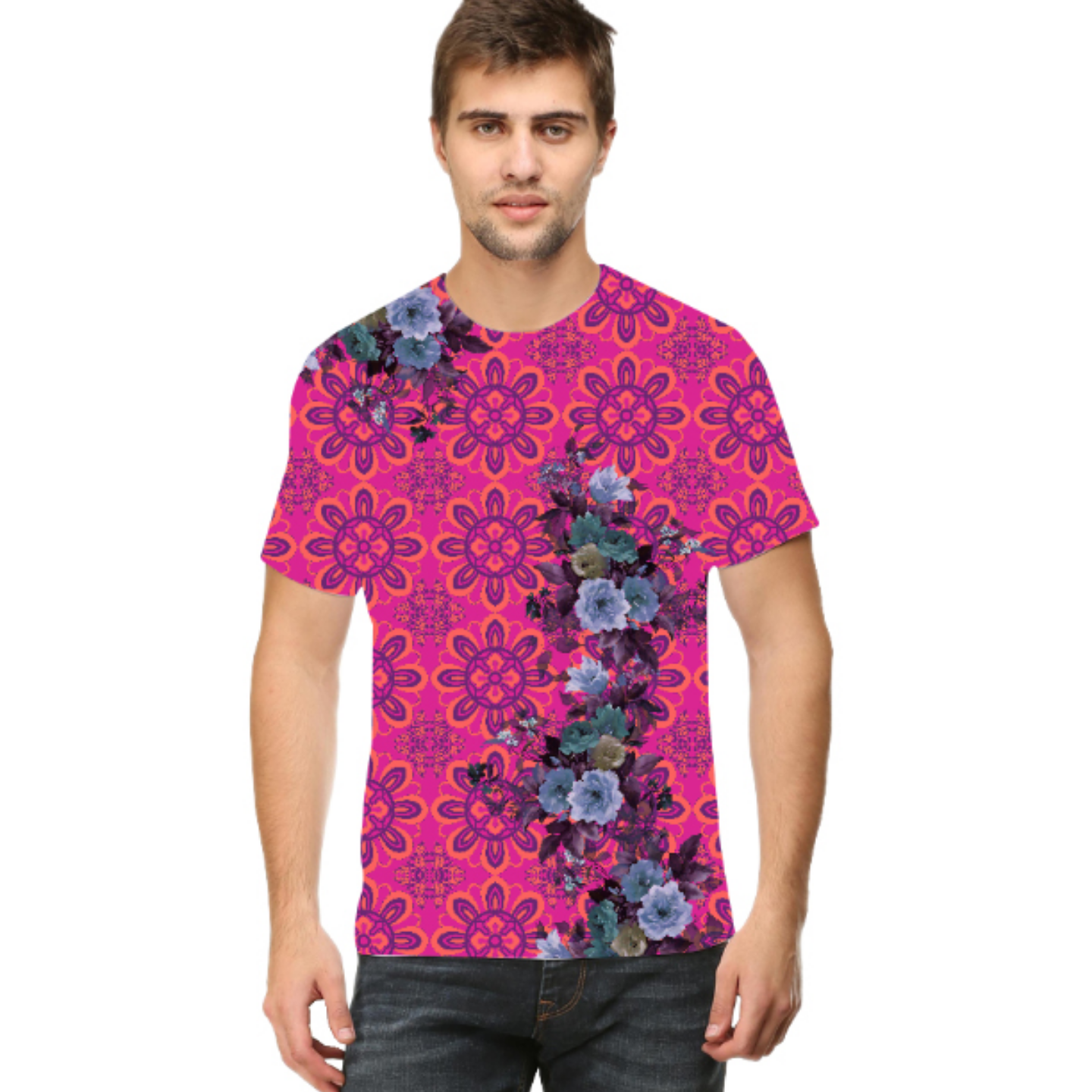 Men Pink and Blue Floral Round Neck T-Shirt